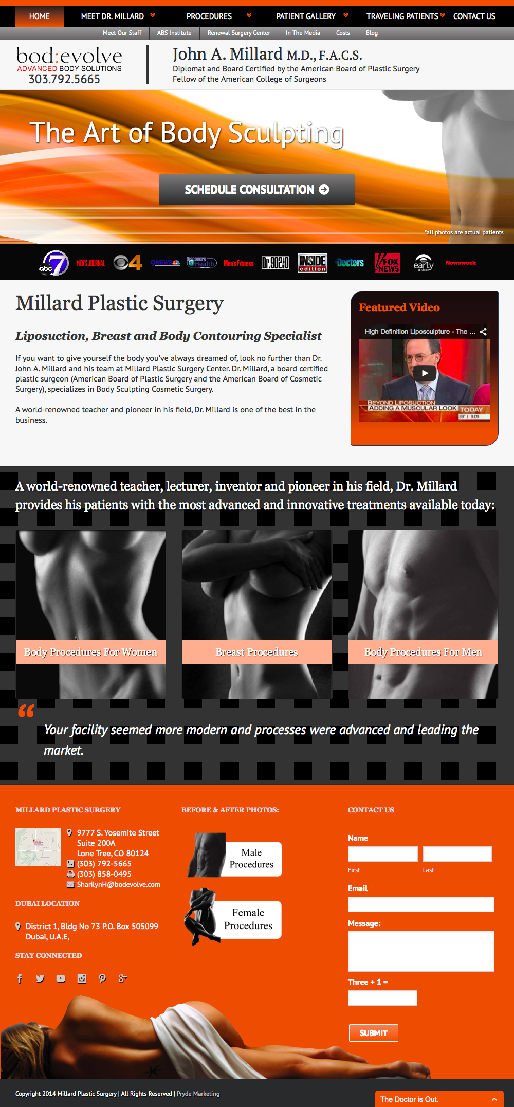 Millard Plastic Surgery Website